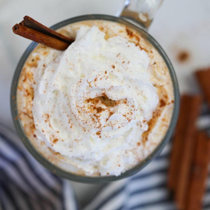 vegan pumpkin spice latte starbucks copycat with whipped cream looking down