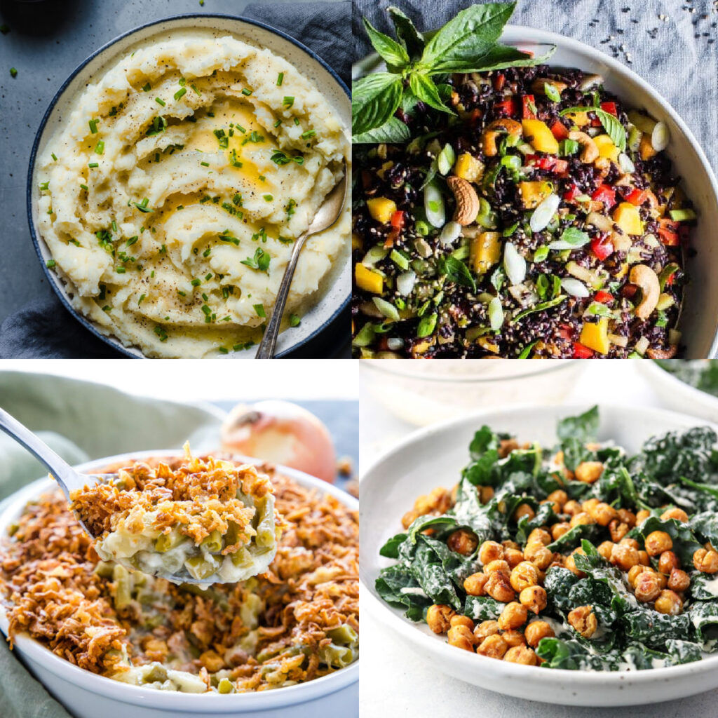 best vegan side dish recipes collage of photos