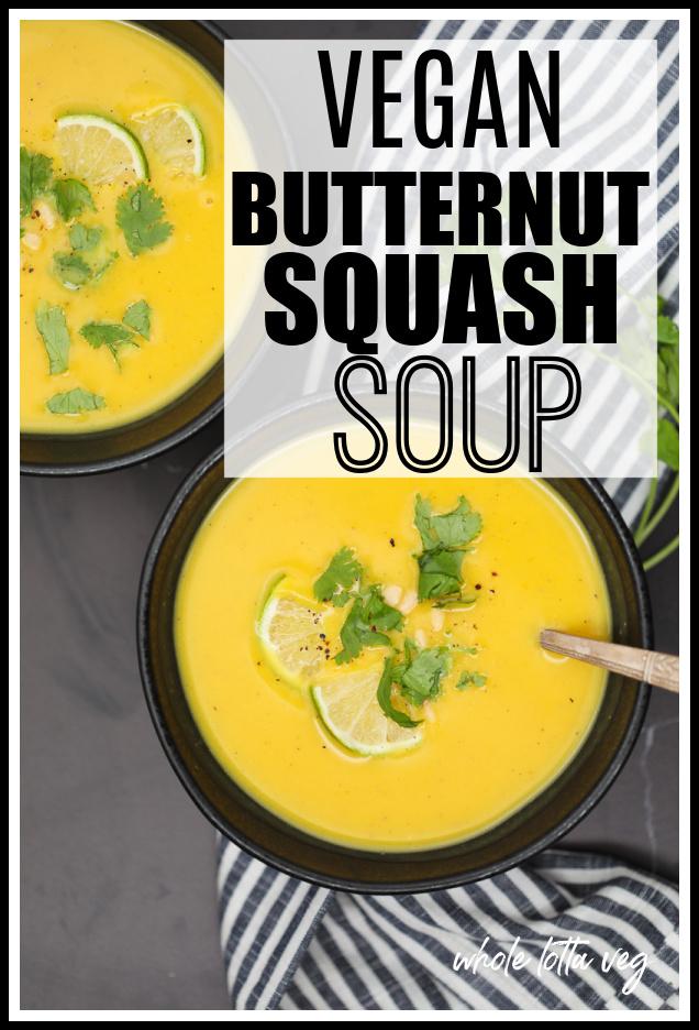 butternut squash soup vegan pinterest pin