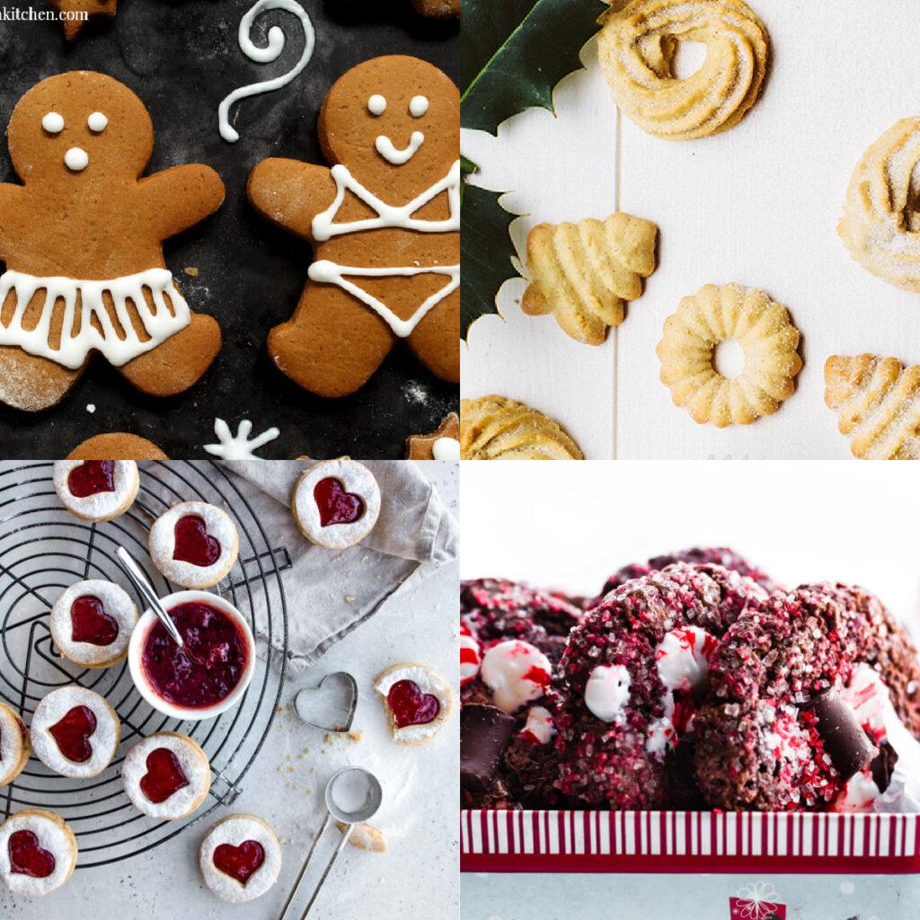 collage of vegan christmas cookies