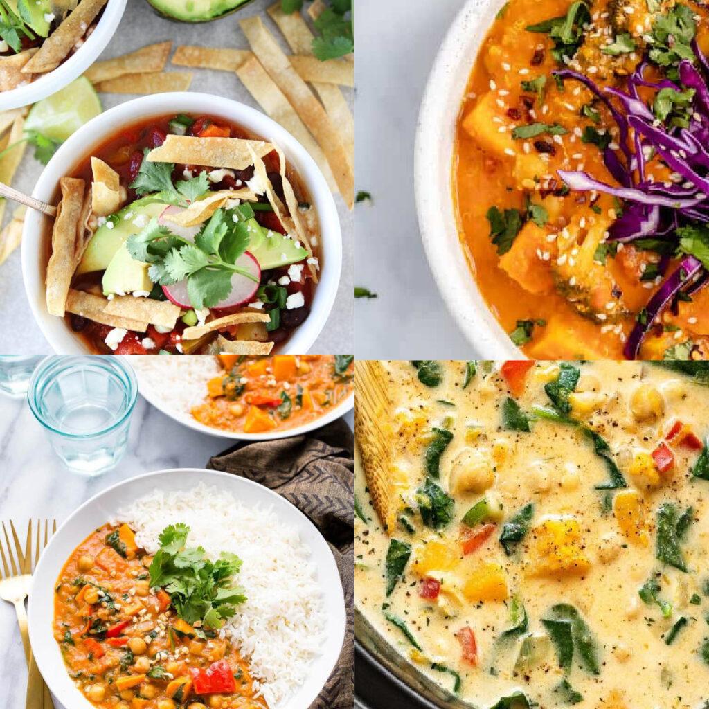 vegan crockpot recipes collage of recipes
