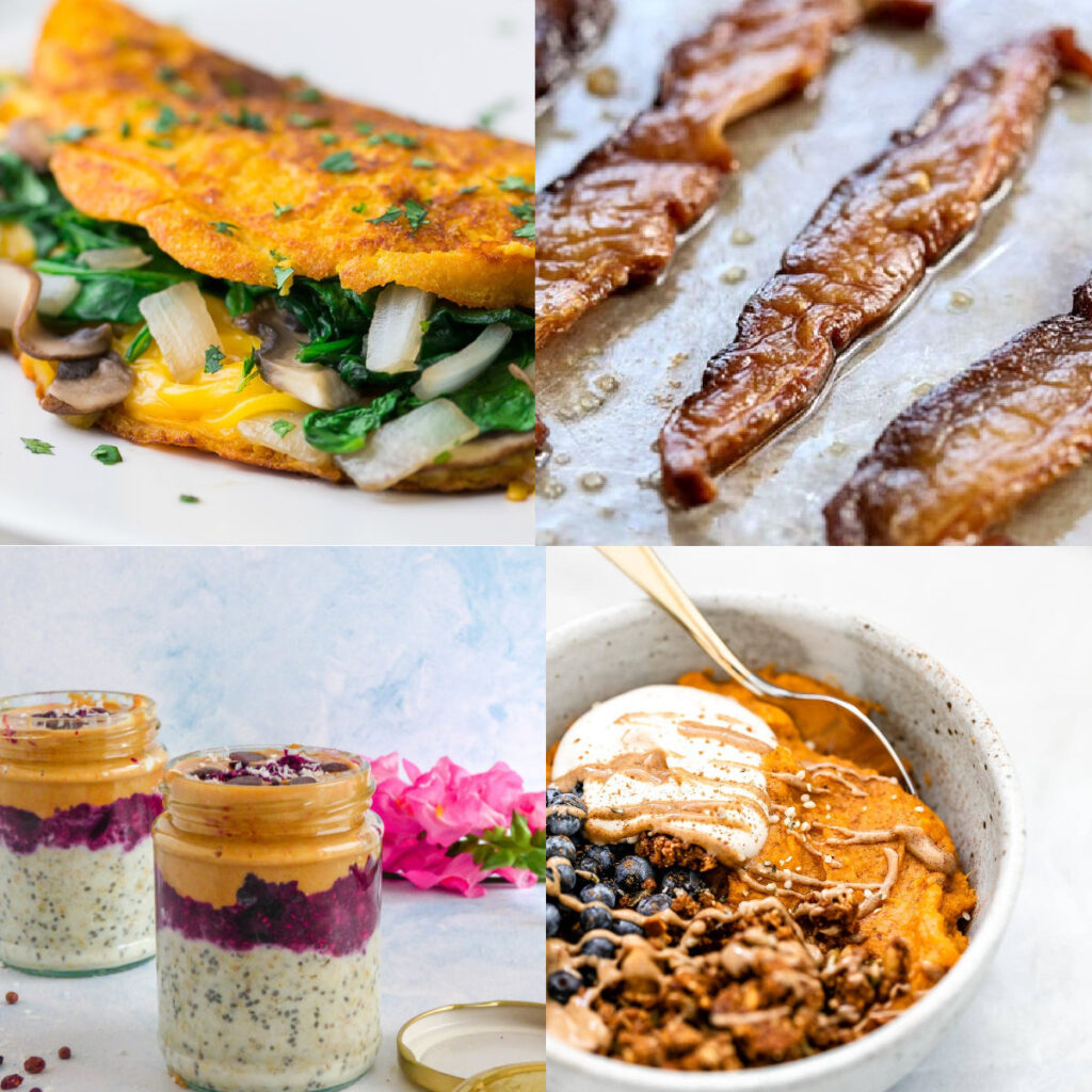 vegan recipes for breakfast collage of photos