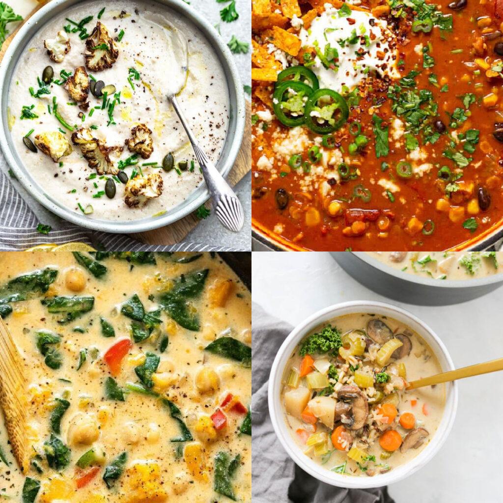 vegan soups when you're sick collage